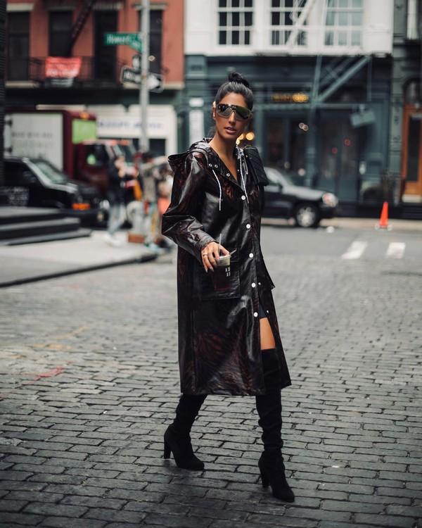 coat long coat raincoat black boots knee high boots black skirt