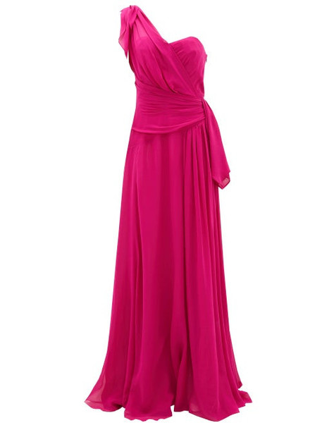 Dundas - One-shoulder Silk-georgette Gown - Womens - Pink