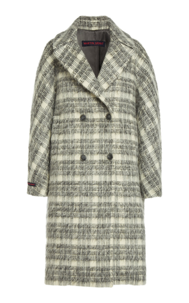 Martin Grant Plaid Mohair-Wool Cocoon Coat in black