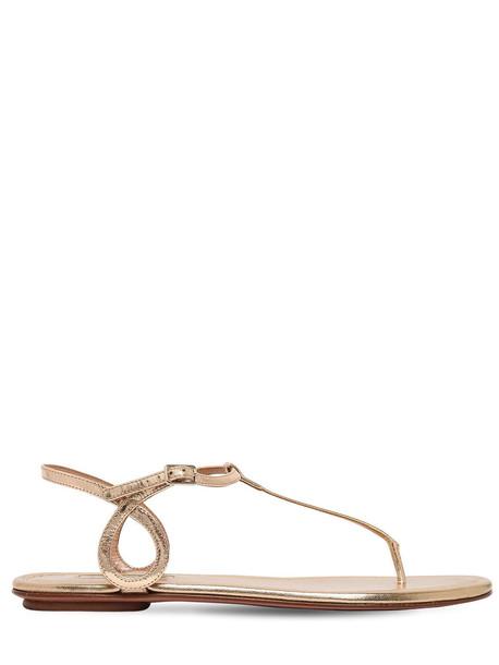 AQUAZZURA 10mm Almost Bare Mirror Leather Flats in gold