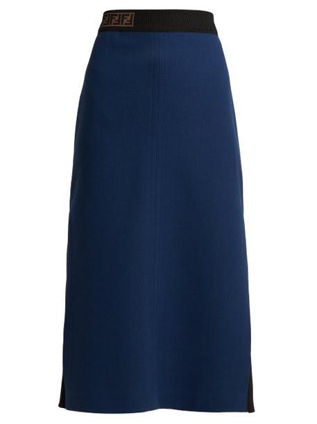 Fendi - Ff Jacquard Wool Crepe Midi Skirt - Womens - Dark Blue