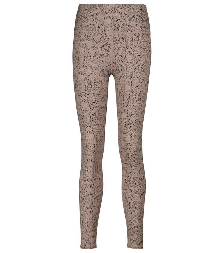 Varley Century snake-print high-rise leggings in beige