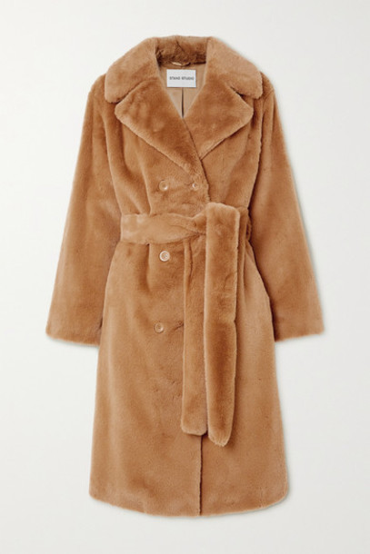 Stand Studio - Faustine Belted Double-breasted Faux Fur Coat in tan