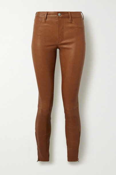 J Brand - Stretch-leather Skinny Pants - Light brown