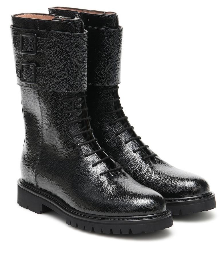 Legres Leather combat boots in black