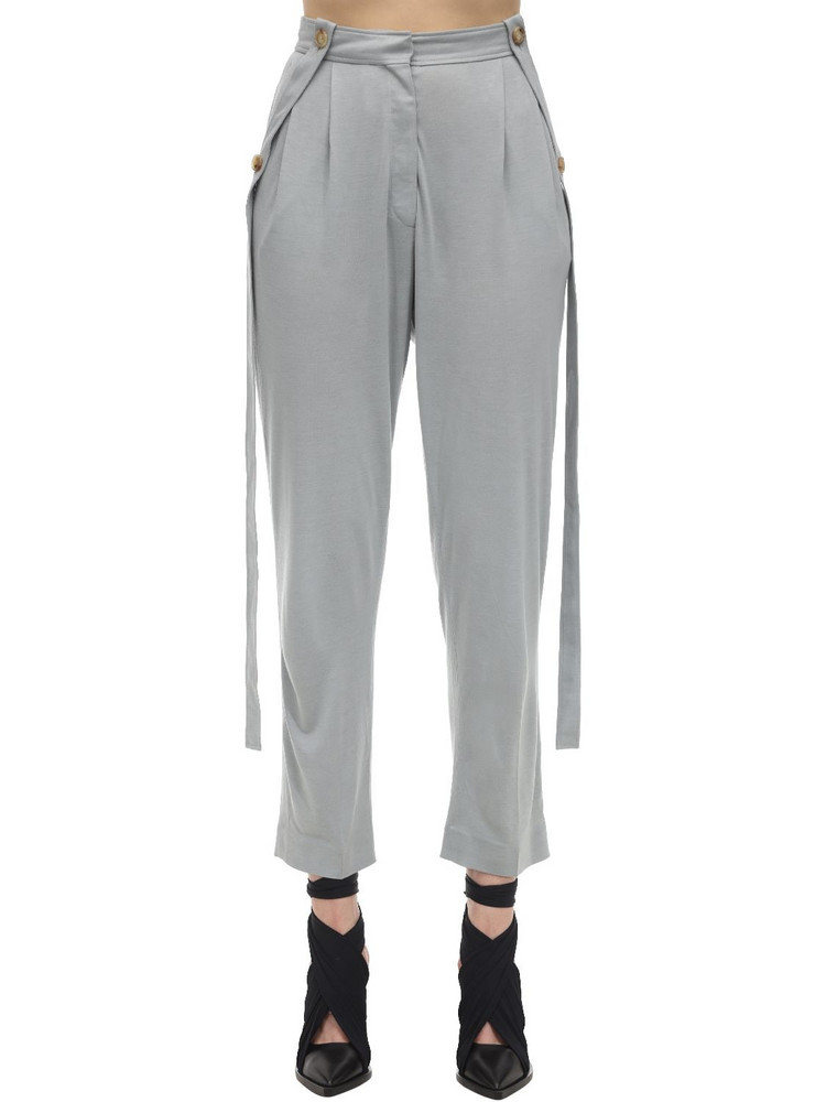 BURBERRY High Waist Pleated Jersey Pants in grey