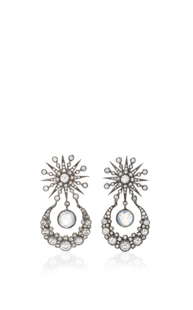 Colette Jewelry Star and Moon 18K Oxidized Gold Diamond and Moonstone Earrings in black