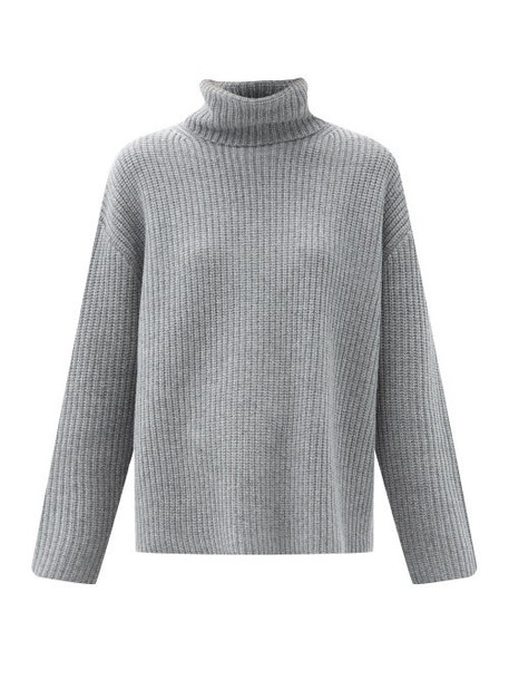 Nili Lotan - Layla Roll-neck Ribbed Cashmere Sweater - Womens - Grey