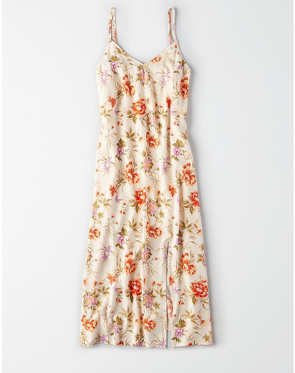 AEO Printed Slit Midi Dress