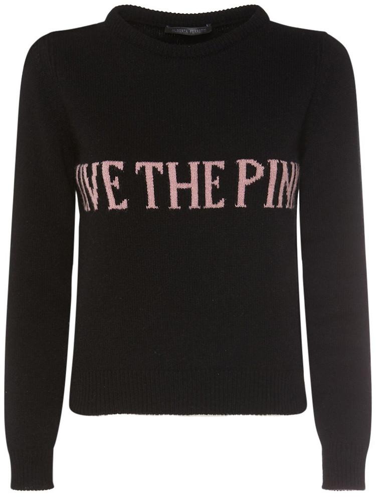 ALBERTA FERRETTI Eco Cashmere Blend Crewneck Sweater in black / fuchsia