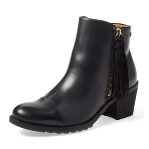 Women's Black Tassels Side Zipper Work Ankle Vintage Boots