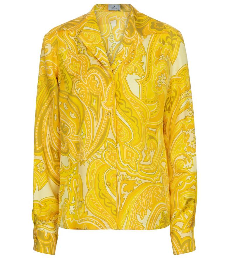 Etro Paisley silk shirt in yellow