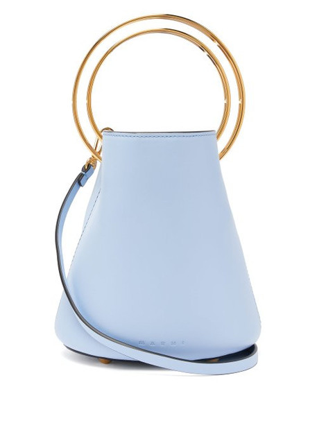 Marni - Pannier Small Leather Bucket Bag - Womens - Light Blue