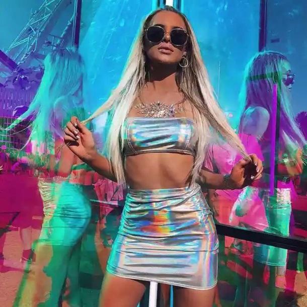 dress top set holographic metallic rave music festival silver skirt