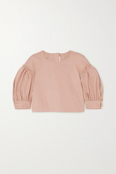 Anna Mason - Rose Cropped Cotton-twill Blouse - Beige