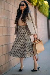 hallie daily,blogger,jacket,top,skirt,bag,jewels,fall outfits,midi skirt,blazer