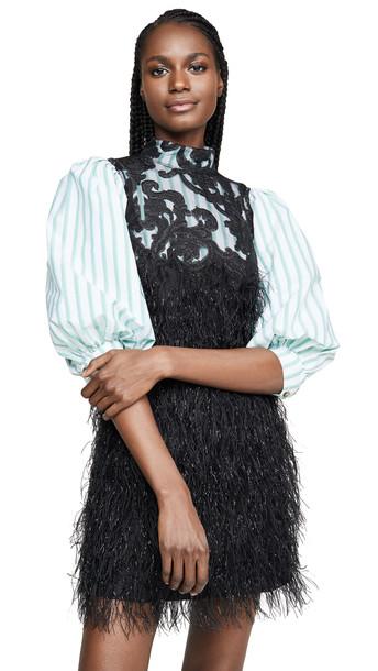 GANNI Feathery Cotton Dress in black