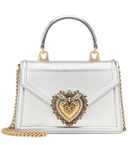 Dolce & Gabbana Devotion Small leather shoulder bag in silver