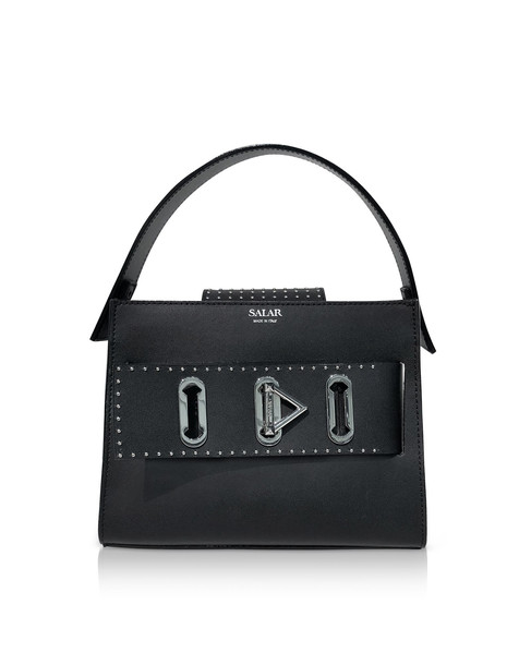 Salar Ludo Dots Leather Satchel Bag in black