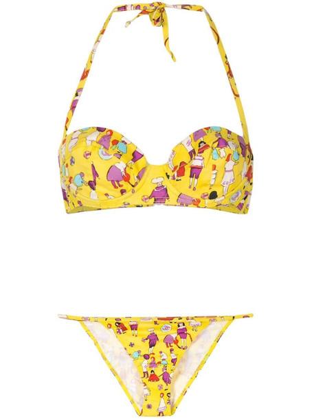 Chanel Pre-Owned 2001 little people print bikini set in yellow