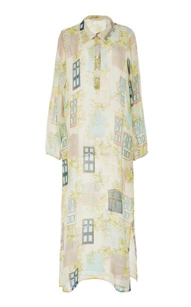 VERANDAH Printed Chiffon Midi Dress Size: XL in print
