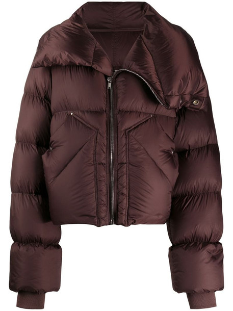 Rick Owens padded oversized down jacket in red