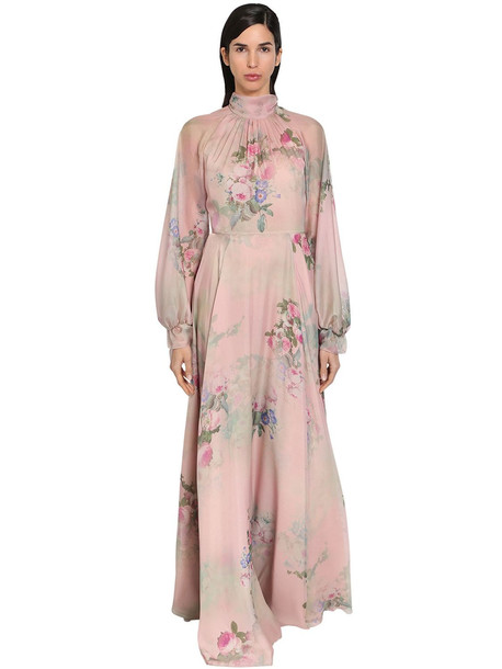 LUISA BECCARIA Printed Georgette Long Dress in pink / multi