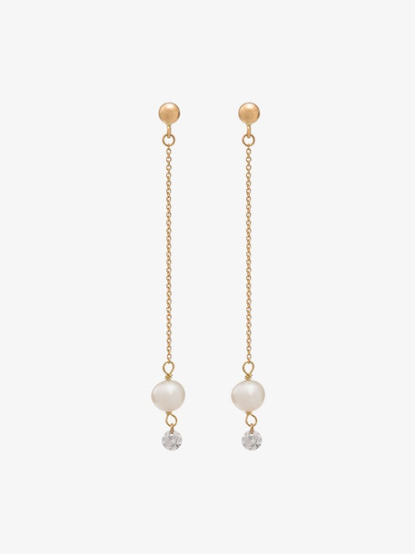 Persee 18K yellow gold diamond and pearl drop earrings