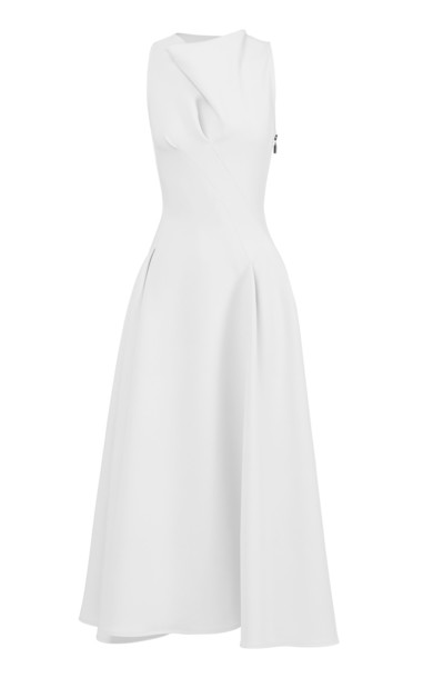 Maticevski Assured Crepe De Chine Dress Size: 6 in white