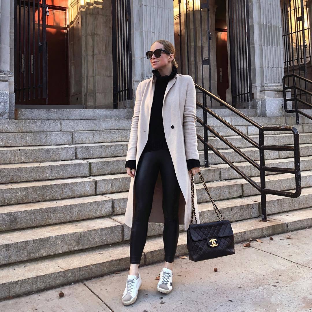 pants black leggings white sneakers black blouse chanel bag black bag white coat zara