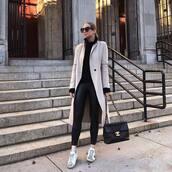 pants,black leggings,white sneakers,black blouse,chanel bag,black bag,white coat,zara