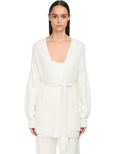 MAX MARA Belted Cotton Rib Knit Cardigan in white