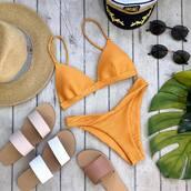 bikini top,orange bikini top,swimwear