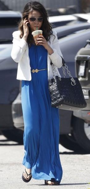 dress gold belt mila kunis blue dress long dress waist belt white jacket black bag dior bag