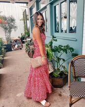 dress,maxi dress,red dress,white sandals,ysl bag