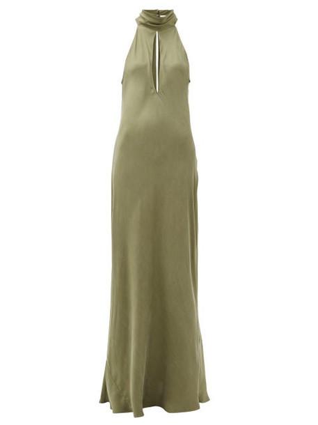 Worme - The High Neck Silk Maxi Dress - Womens - Khaki