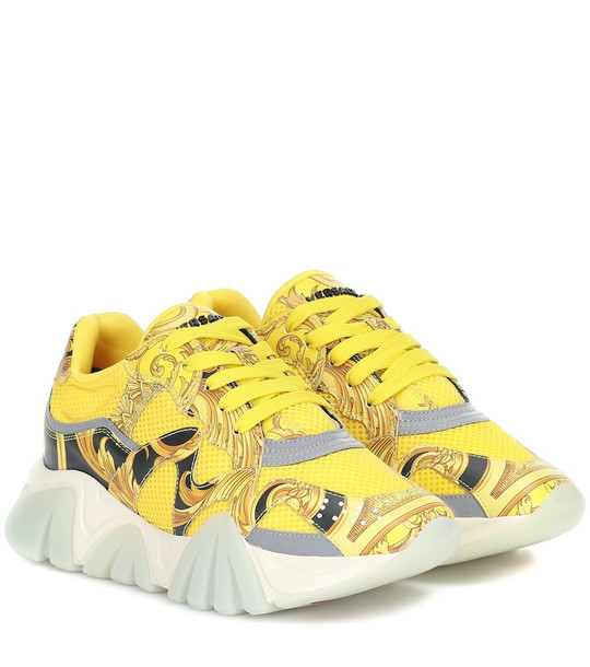 Versace Squalo mesh and leather sneakers in yellow