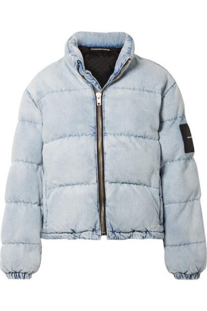 Alexander Wang Appliquéd Quilted Denim Jacket Light blue