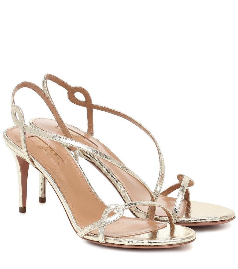 Aquazzura Serpentine 75 leather sandals in silver