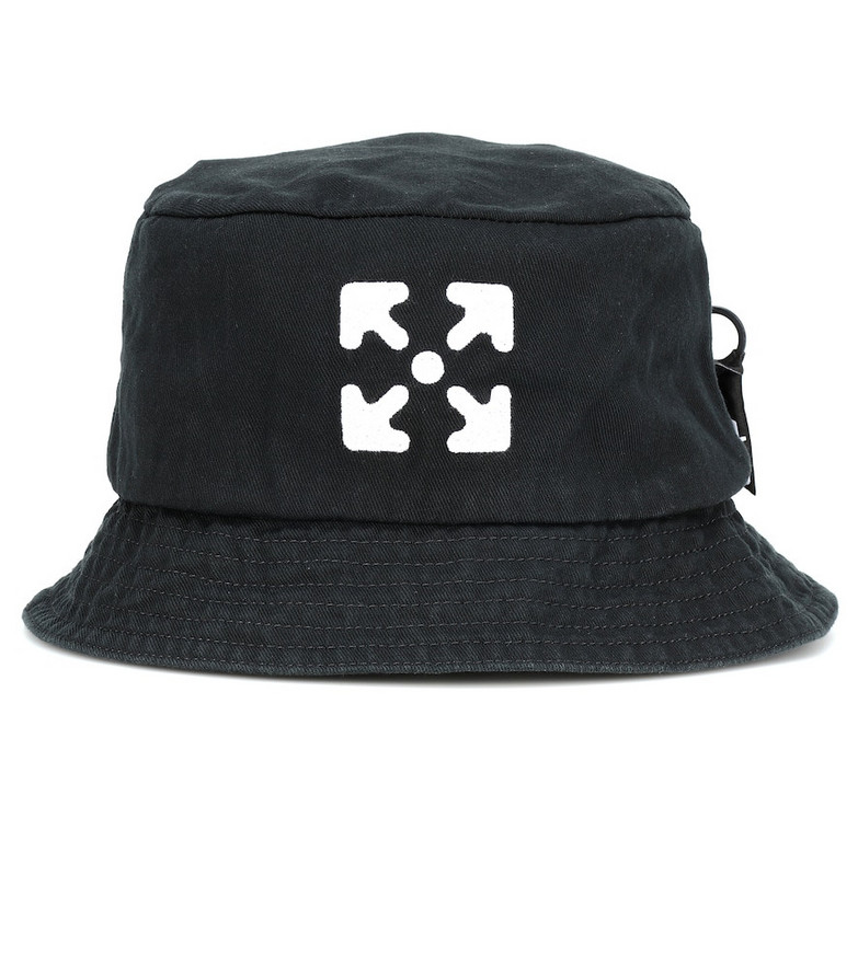 Off-White Logo cotton-twill bucket hat in black