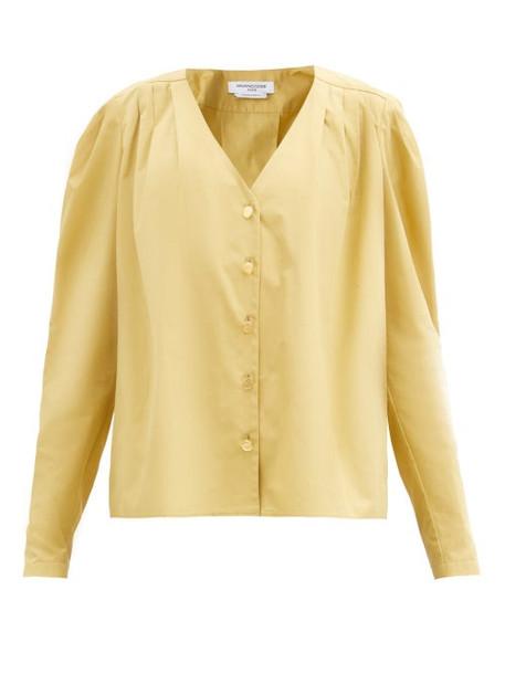 Françoise - Puffed-shoulder Cotton-poplin Shirt - Womens - Beige