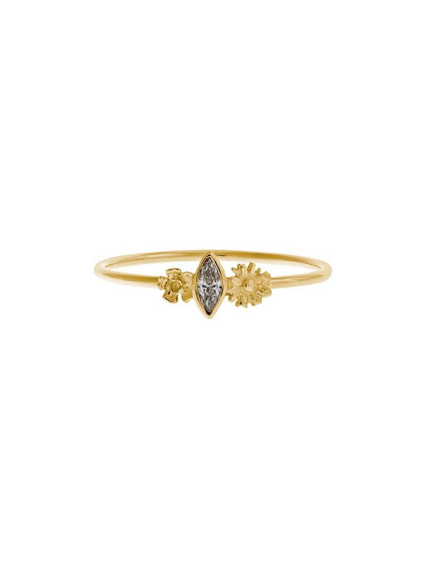 Alex Monroe 18kt yellow gold floral and marquise-cut diamond ring