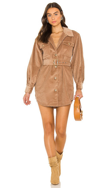 BB Dakota by Steve Madden Cord Of It All Dress in Nude in camel
