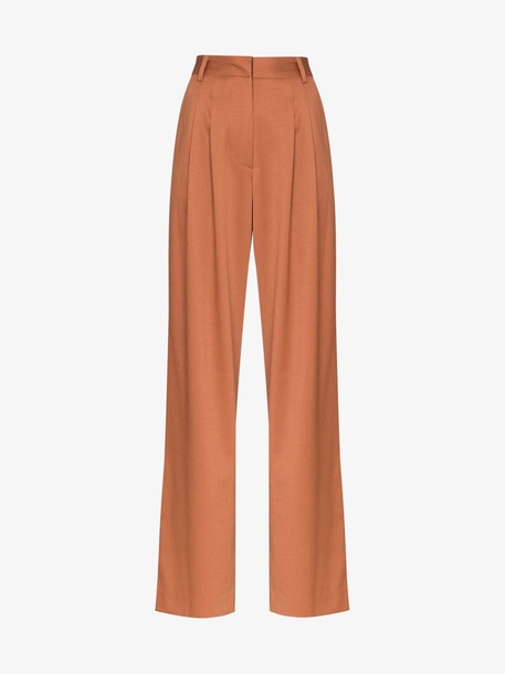 Low Classic wide leg tailored wool trousers in brown