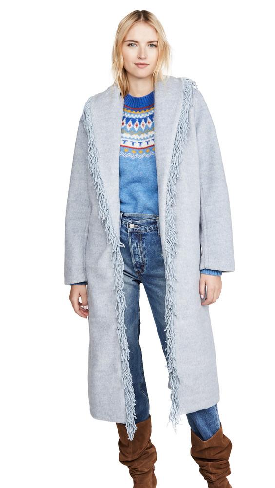 Line & Dot Linda Fringe Coat in denim / denim