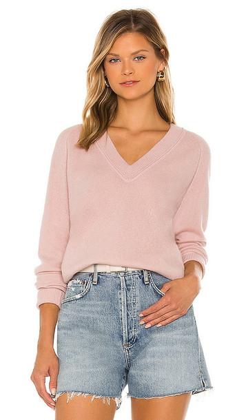 Equipment Madalene V-Neck Sweater in Blush in rose