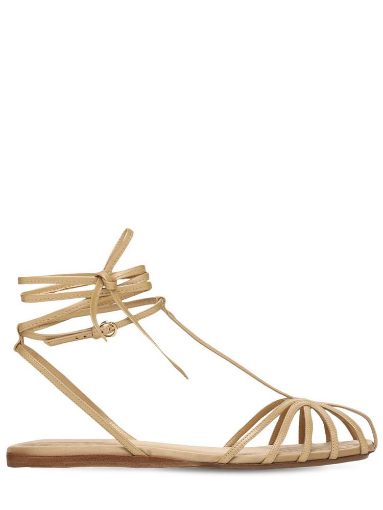 MAX MARA 10mm Florapv Metallic Leather Sandals in gold