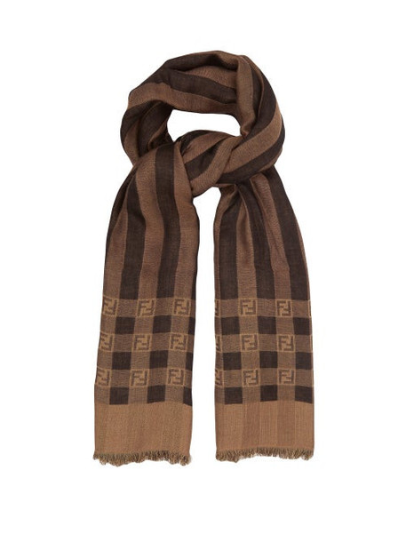 Fendi - Striped Knitted Wool-blend Scarf - Womens - Brown
