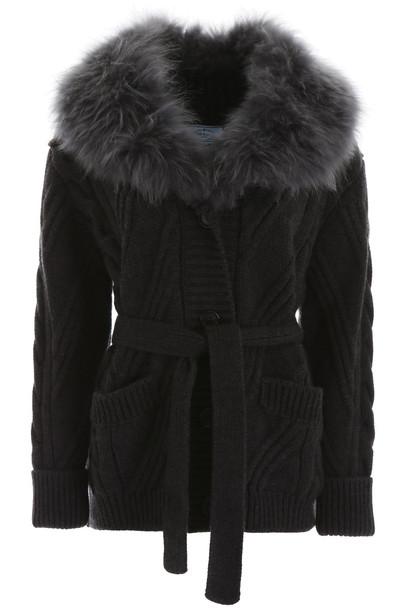 Prada Maxi Cardigan With Fur in grey