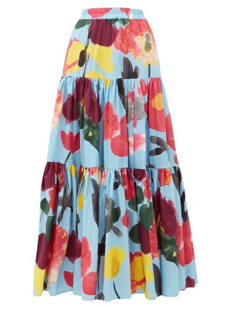 La Doublej - Big Floral Print Poplin Maxi Skirt - Womens - Blue Print